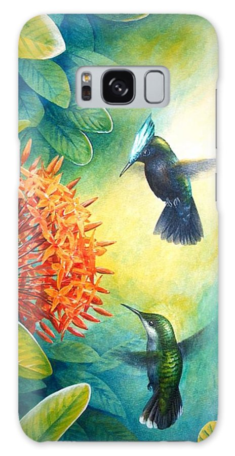 Chris Cox Galaxy S8 Case featuring the painting Antillean Crested Hummingbirds And Ixora by Christopher Cox