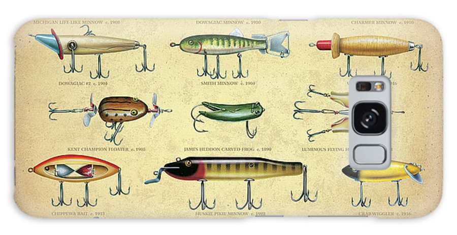 Jon Q Wright Galaxy Case featuring the painting Antique Lures Brown by JQ Licensing
