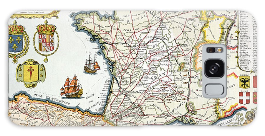 Maps Galaxy S8 Case featuring the drawing Antique Map Of France by French School