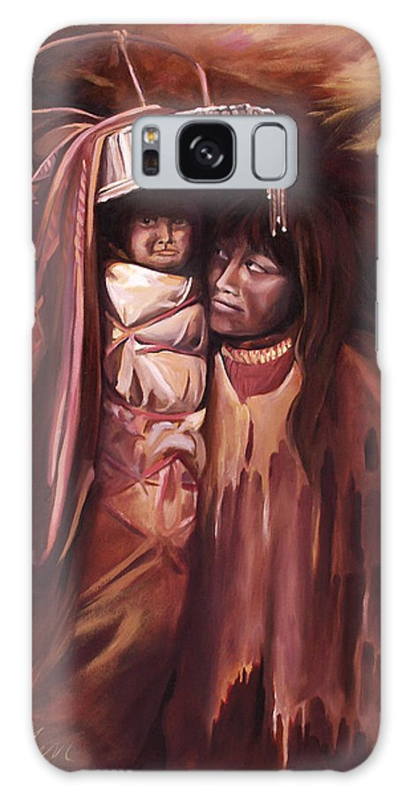 Native American Galaxy S8 Case featuring the painting Apache Girl And Papoose by Nancy Griswold
