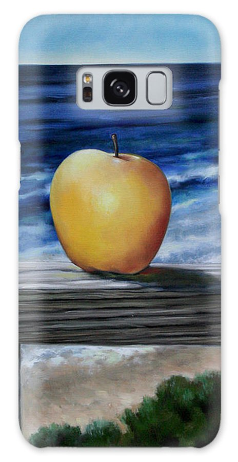 Yellow Galaxy S8 Case featuring the painting Apple By The Sea by Meridith Martens
