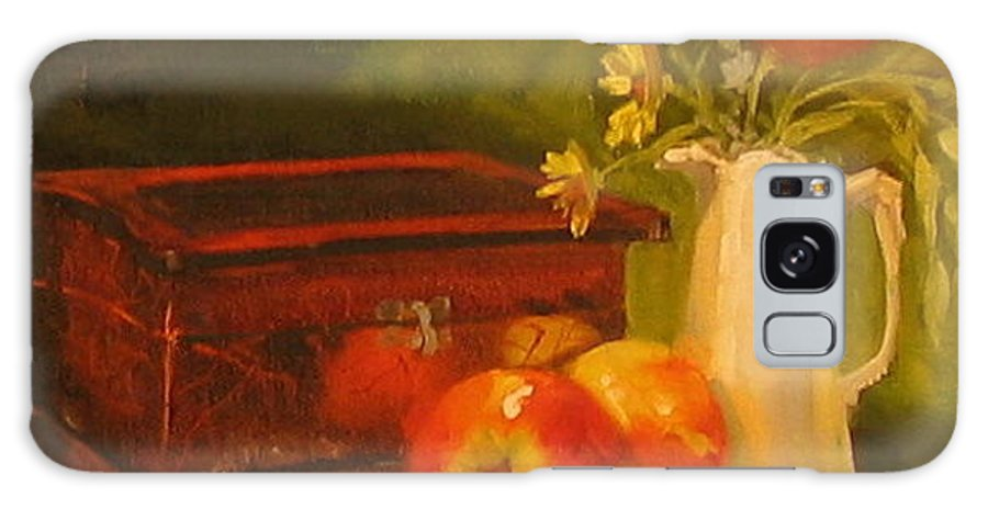 Oil Galaxy Case featuring the painting Apple Reflections by Laura Lee Zanghetti