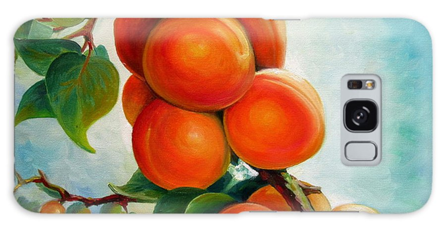 Apricots Galaxy S8 Case featuring the painting Apricots In The Garden by Nadia Bykova