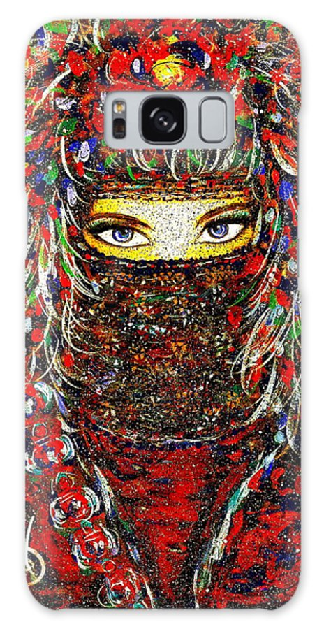 Woman Galaxy Case featuring the painting Arabian Eyes by Natalie Holland