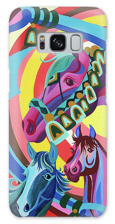 Horses Galaxy S8 Case featuring the painting Arabian Sons by Nancy Cupp