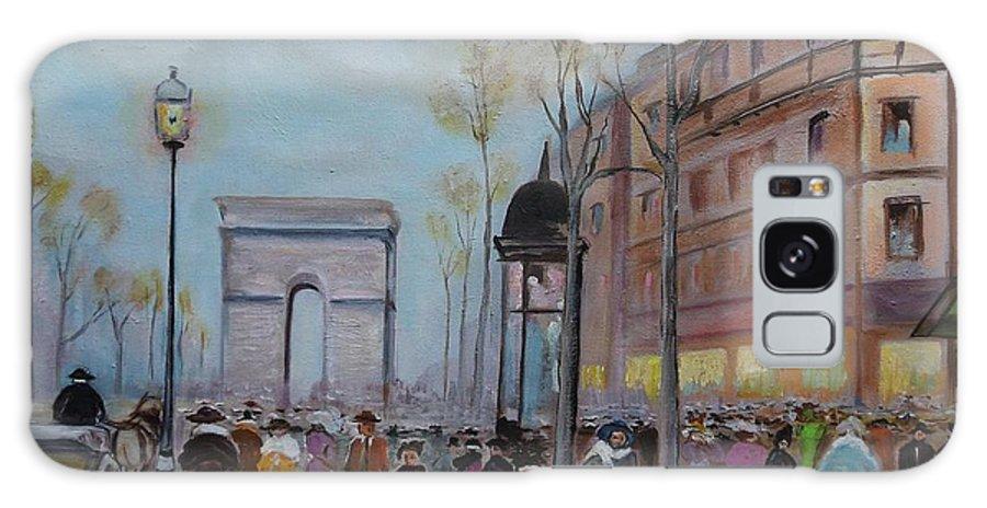 Paris Galaxy Case featuring the painting Arc De Triompfe - Lmj by Ruth Kamenev