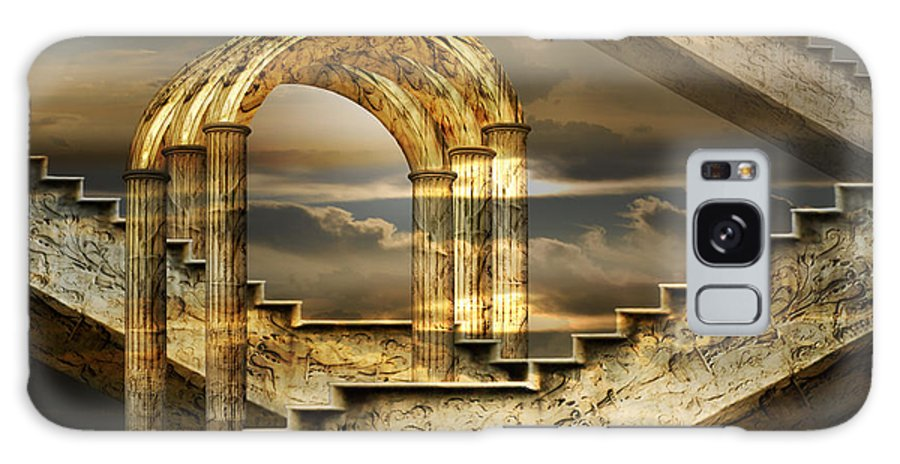 Arch Surrealism Clouds Collage Column Engraving Fantastic Golden Magic Marble Pillar Sky Stairs Galaxy S8 Case featuring the photograph Arches Of Possibility by Desislava Draganova