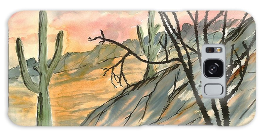 Drawing Galaxy S8 Case featuring the painting Arizona Evening Southwestern Landscape Painting Poster Print by Derek Mccrea