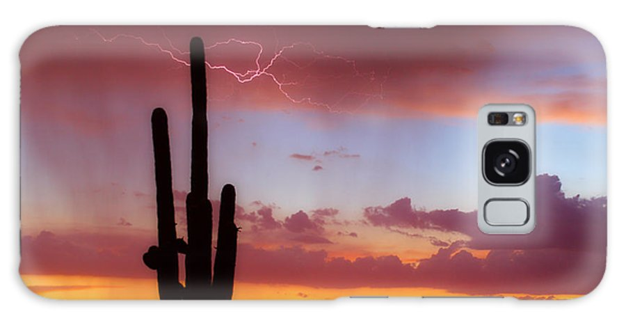 Arizona Galaxy S8 Case featuring the photograph Arizona Lightning Sunset by James BO Insogna