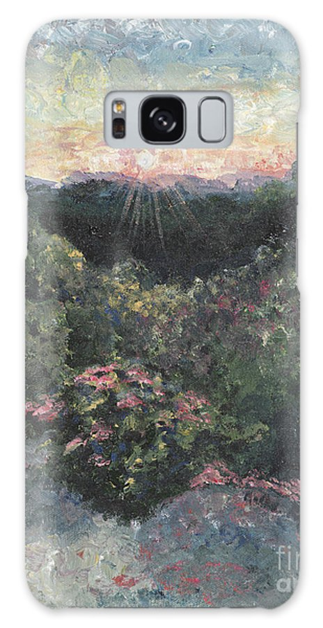 Landscape Galaxy Case featuring the painting Arkansas Mountain Sunset by Nadine Rippelmeyer