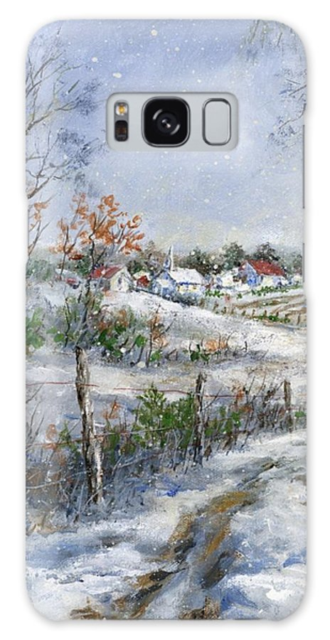 Snowfall Galaxy S8 Case featuring the painting Around The Bend Sold by Virginia Potter