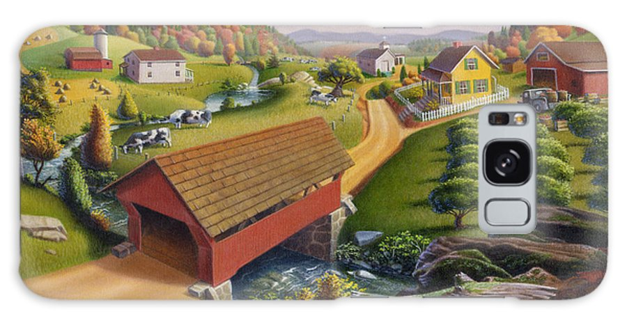 Covered Bridge Galaxy S8 Case featuring the painting Folk Art Covered Bridge Appalachian Country Farm Summer Landscape - Appalachia - Rural Americana by Walt Curlee