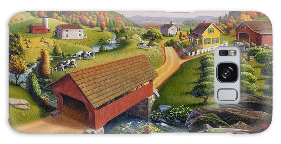 Covered Bridge Galaxy S8 Case featuring the painting Folk Art Covered Bridge Appalachian Country Farm Summer Landscape - Appalachia - Rural Americana by Walt Curlee