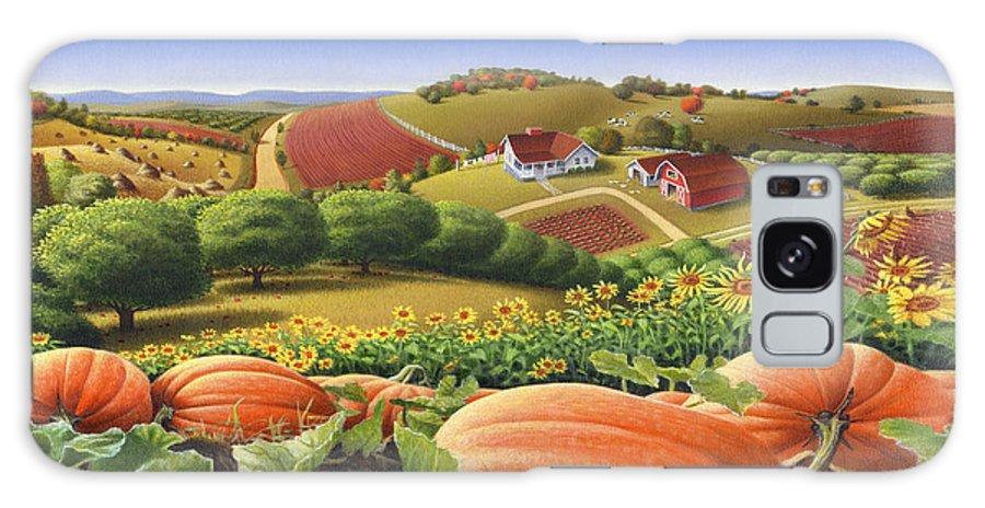 Pumpkin Galaxy S8 Case featuring the painting Farm Landscape - Autumn Rural Country Pumpkins Folk Art - Appalachian Americana - Fall Pumpkin Patch by Walt Curlee