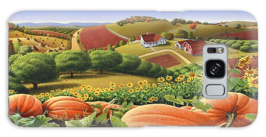 Pumpkin Galaxy S8 Case featuring the painting Farm Landscape - Autumn Rural Country Pumpkins Folk Art - Appalachian Americana - Fall Pumpkin Patch by Walt Curlee