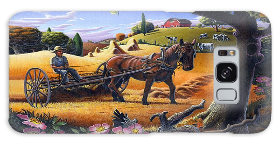 Raking Hay Galaxy S8 Case featuring the painting Raking Hay Field Rustic Country Farm Folk Art Landscape by Walt Curlee