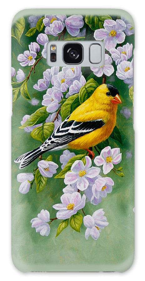 Bird Galaxy S8 Case featuring the painting American Goldfinches And Apple Blossoms by Crista Forest