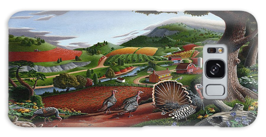 Wild Turkey Galaxy S8 Case featuring the painting Wild Turkeys Appalachian Thanksgiving Landscape - Childhood Memories - Country Life - Americana by Walt Curlee