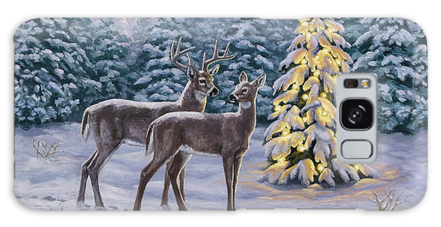 Deer Galaxy S8 Case featuring the painting Whitetail Christmas by Crista Forest