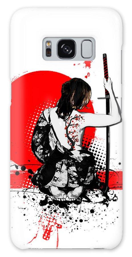 Samurai Galaxy S8 Case featuring the digital art Trash Polka - Female Samurai by Nicklas Gustafsson