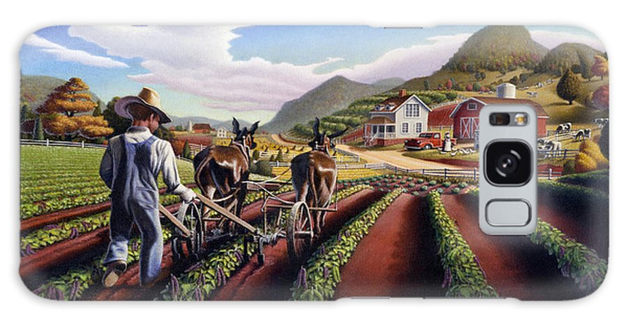 Appalachian Galaxy S8 Case featuring the painting Appalachian Folk Art Summer Farmer Cultivating Peas Farm Farming Landscape Appalachia Americana by Walt Curlee