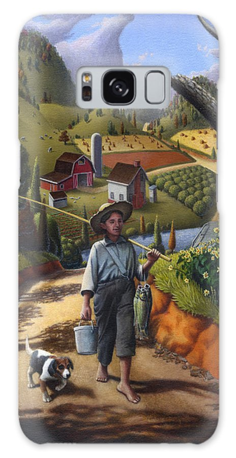 Boy And Dog Galaxy S8 Case featuring the painting Boy And Dog Farm Landscape - Flashback - Childhood Memories - Americana - Painting - Walt Curlee by Walt Curlee