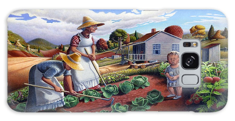 Farm Family Galaxy Case featuring the painting Family Vegetable Garden Farm Landscape - Gardening - Childhood Memories - Flashback - Homestead by Walt Curlee