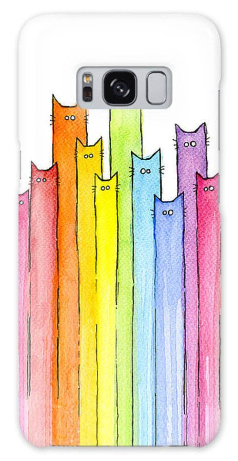Cats Galaxy Case featuring the painting Cat Rainbow Watercolor Pattern by Olga Shvartsur