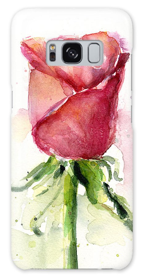 Rose Galaxy S8 Case featuring the painting Rose Watercolor by Olga Shvartsur