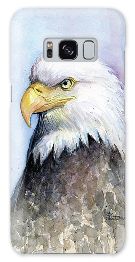 Bird Galaxy Case featuring the painting Bald Eagle Portrait by Olga Shvartsur