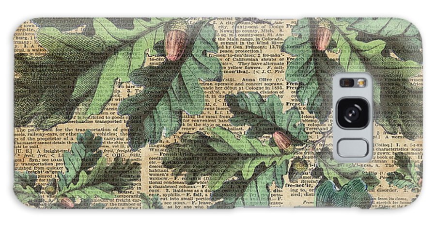 Dictionary Galaxy S8 Case featuring the digital art Oak Tree Leaves And Acorns, Autumn Dictionary Art by Anna W