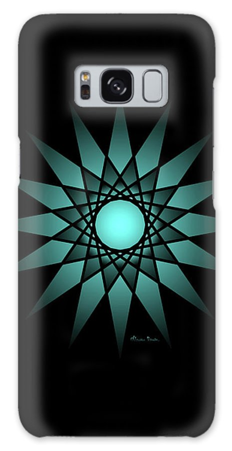 Ombre Galaxy S8 Case featuring the digital art Turquoise Ombre Deep Gaze Mandala by Heather Schaefer