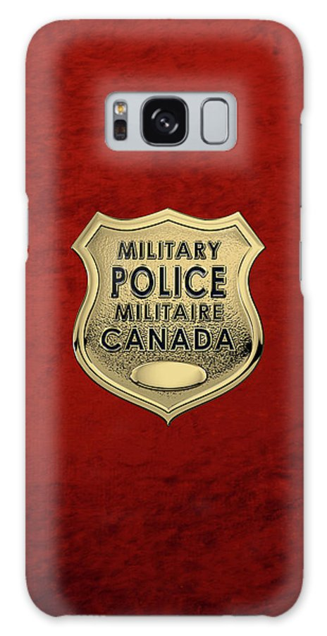 'military Insignia & Heraldry' By Serge Averbukh Galaxy S8 Case featuring the digital art Canadian Forces Military Police C F M P - M P Officer Id Badge Over Red Velvet by Serge Averbukh