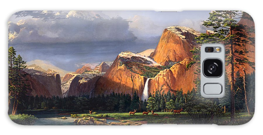American Galaxy S8 Case featuring the painting Deer Meadow Mountains Western Stream Deer Waterfall Landscape Oil Painting Stormy Sky Snow Scene by Walt Curlee