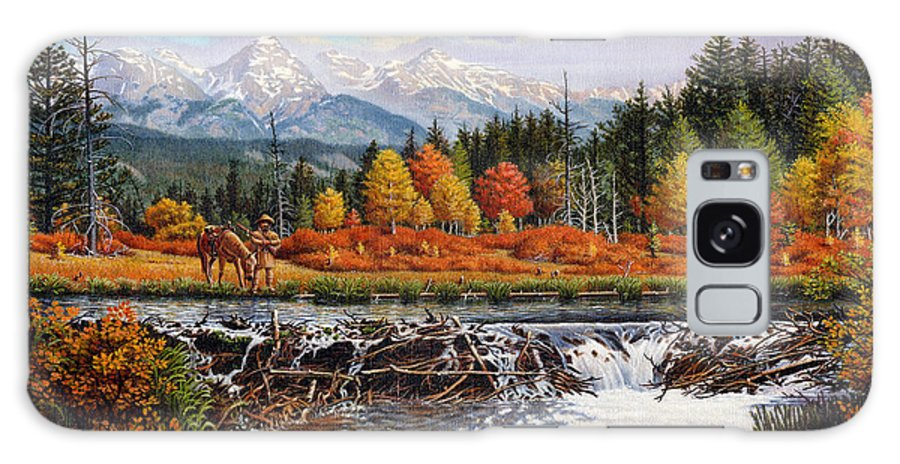Western Mountain Landscape Galaxy S8 Case featuring the painting Western Mountain Landscape Autumn Mountain Man Trapper Beaver Dam Frontier Americana Oil Painting by Walt Curlee