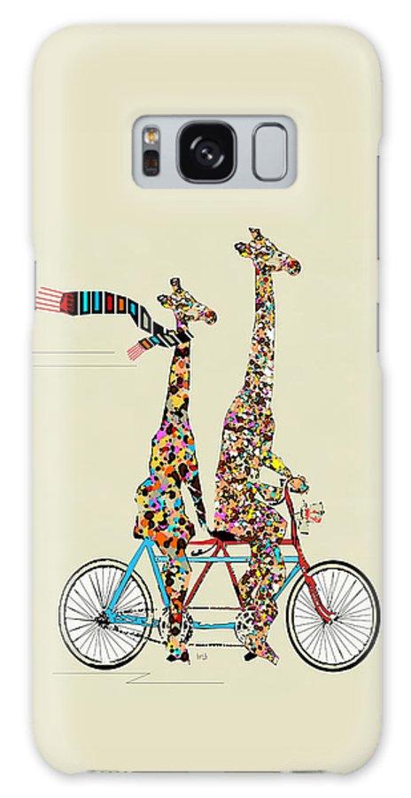 Giraffes Galaxy Case featuring the painting Giraffe Days Lets Tandem by Bri Buckley