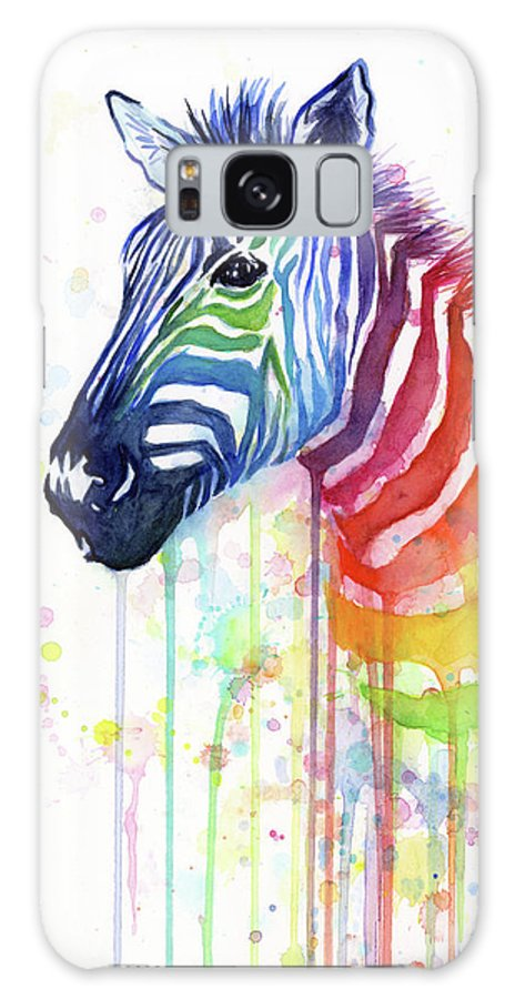 Rainbow Galaxy Case featuring the painting Rainbow Zebra - Ode to Fruit Stripes by Olga Shvartsur