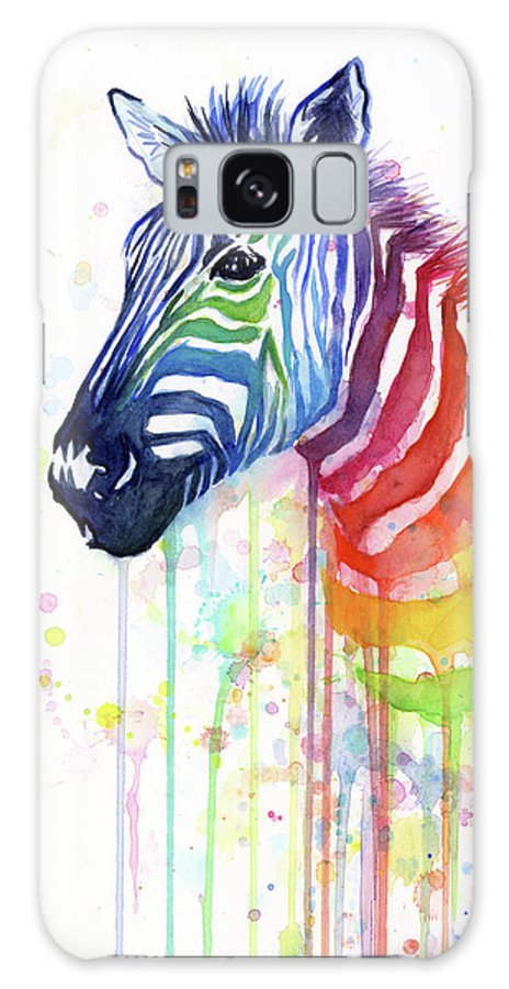 Rainbow Galaxy S8 Case featuring the painting Rainbow Zebra - Ode To Fruit Stripes by Olga Shvartsur