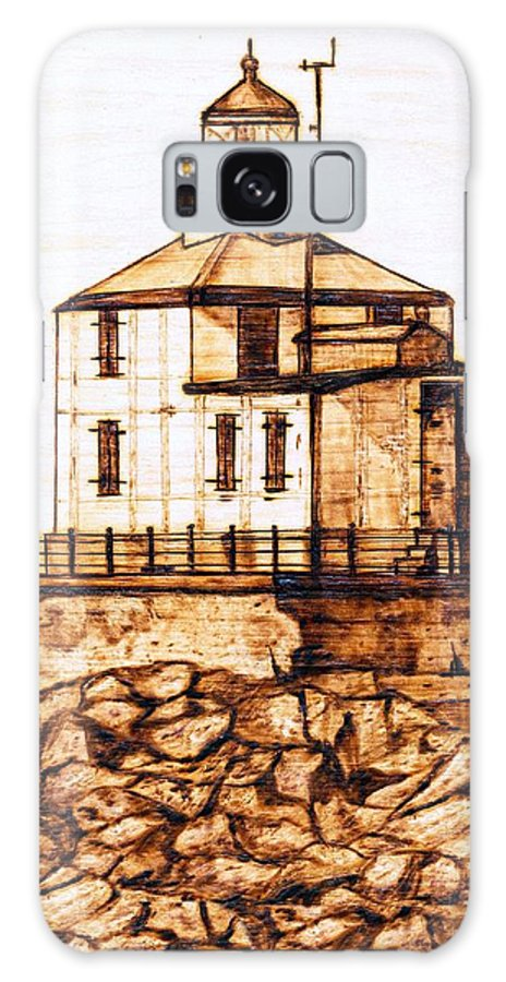 Lighthouse Galaxy S8 Case featuring the pyrography Ashtabula Harbor by Danette Smith