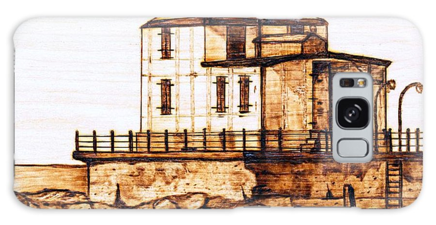 Lighthouse Galaxy Case featuring the pyrography Ashtabula Harbor by Danette Smith