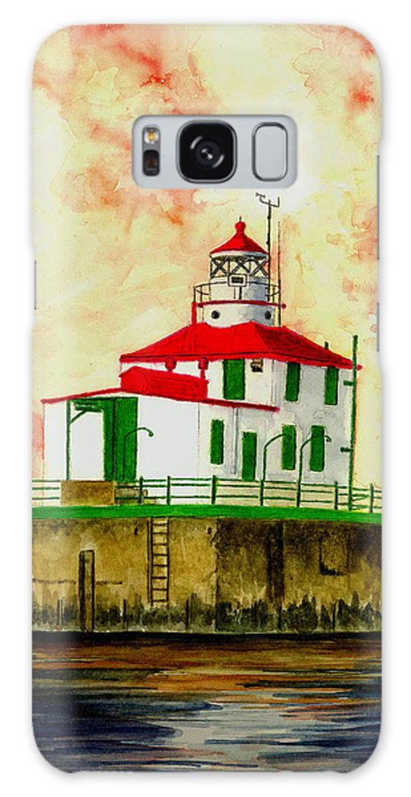 Lighthouse Galaxy S8 Case featuring the painting Ashtabula Lighthouse by Michael Vigliotti