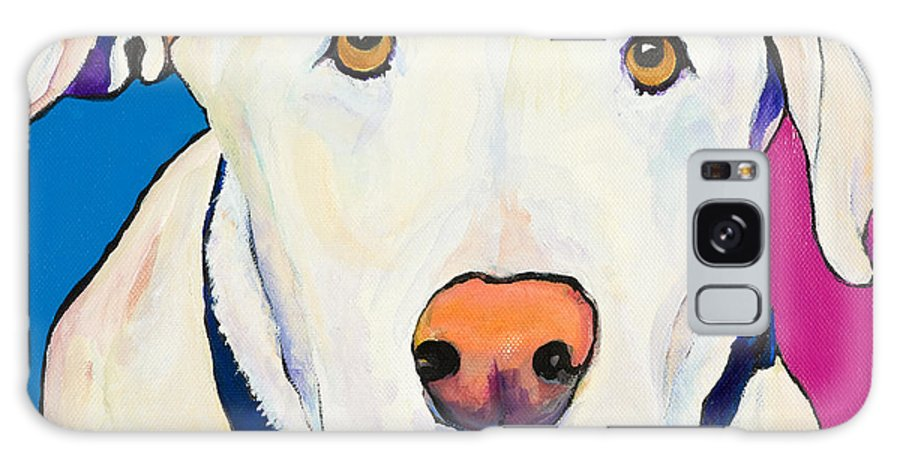 White Lab Yellow Lab Animal Paintings Golden Eyes Square Format Dogs Pets Rescued Galaxy Case featuring the painting Aslinn by Pat Saunders-White