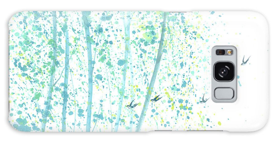 Birds Flying Through An Aspen Forest. This Is A Contemporary Chinese Ink And Color On Rice Paper Painting With Simple Zen Style Brush Strokes. Galaxy S8 Case featuring the painting Aspen Forest by Mui-Joo Wee