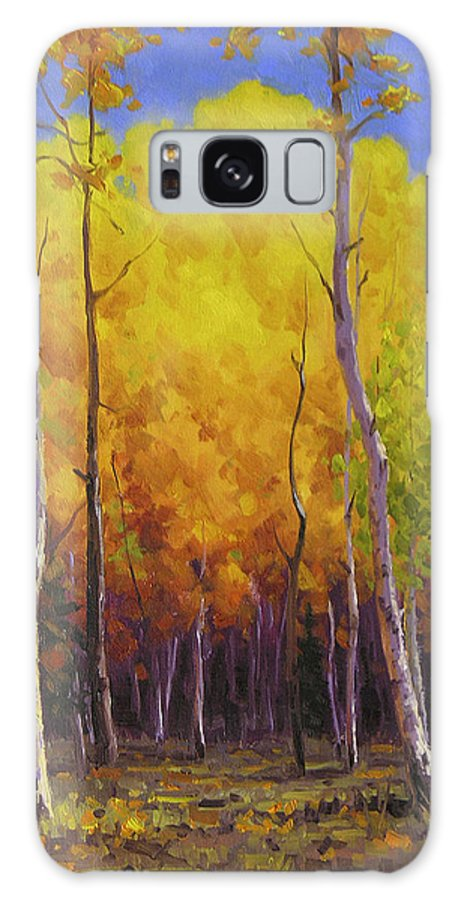 Landscape Galaxy Case featuring the painting Aspen Glow by Cody DeLong