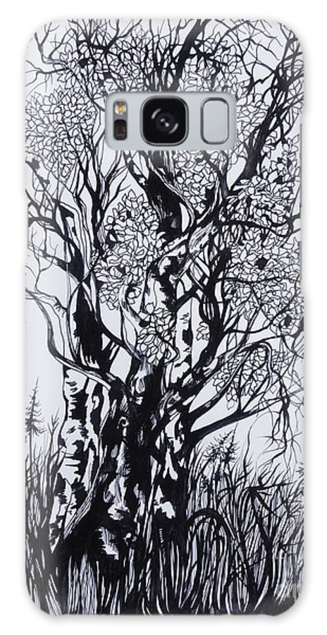 Ink And Pen Galaxy S8 Case featuring the drawing Aspens by Anna Duyunova