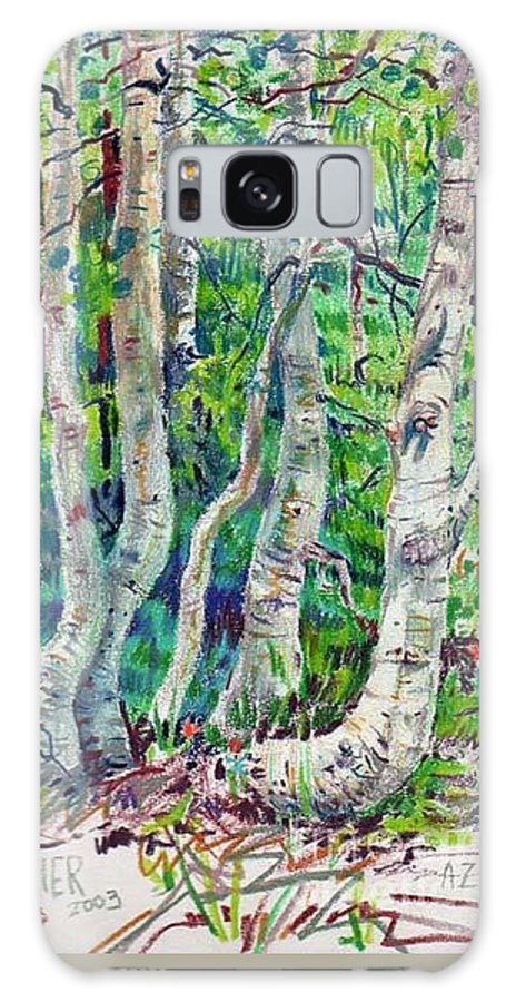 Aspens Galaxy Case featuring the drawing Aspens by Donald Maier