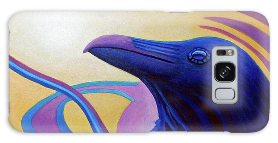 Raven Galaxy Case featuring the painting Astral Raven by Brian Commerford