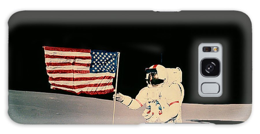 Apollo 14 Galaxy S8 Case featuring the photograph Astronaut With Us Flag On Moon by Nasa