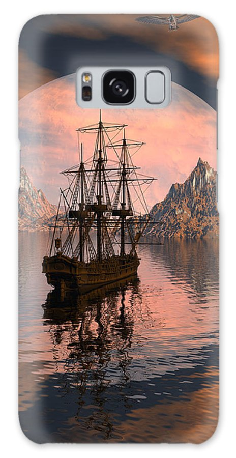 Bryce 3d Digital Fantasy Scifi Windjammer Sailing Galaxy Case featuring the digital art At Anchor by Claude McCoy
