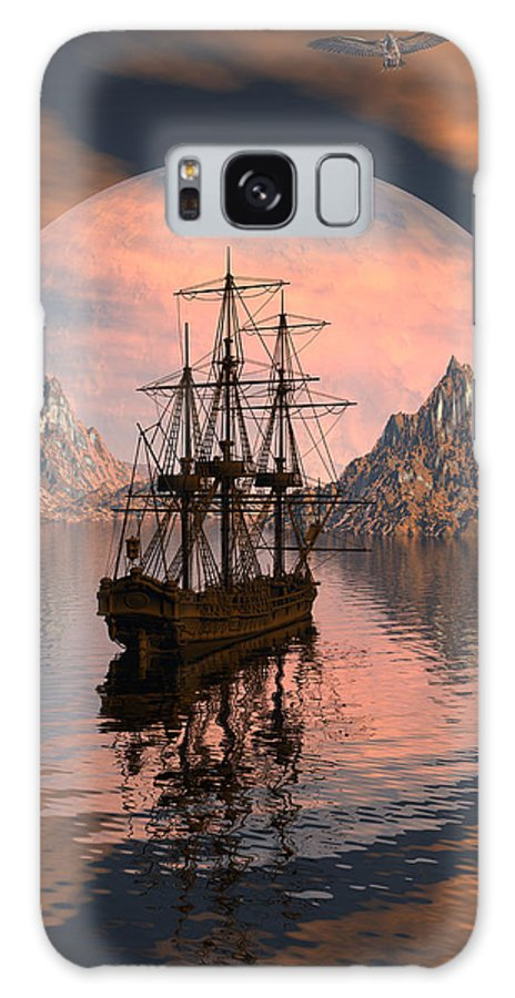 Bryce 3d Digital Fantasy Scifi Windjammer Sailing Galaxy S8 Case featuring the digital art At Anchor by Claude McCoy